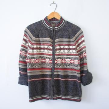 Vintage 90's grey fair isle cardigan sweater, women's size medium