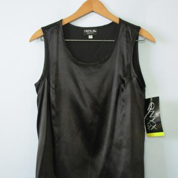90's black satin sleeveless tank top, women's size small