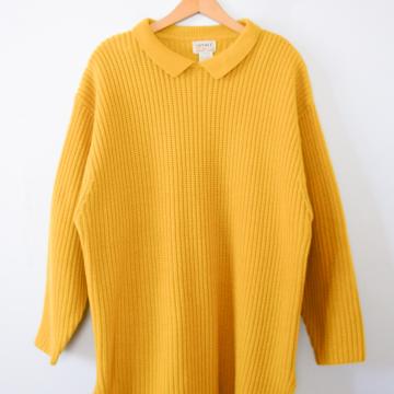 Vintage 80's mustard yellow long tunic sweater, women's size large