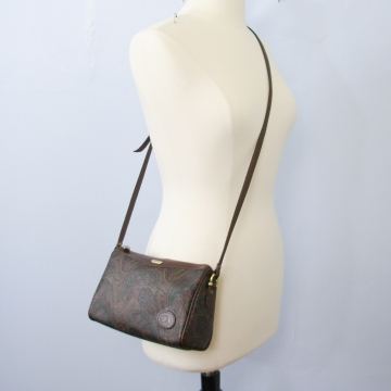 Vintage 80's Liz Claiborne brown paisley crossbody purse