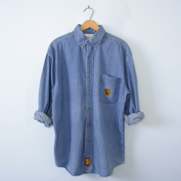90's Disney chambray button up denim shirt, men's medium