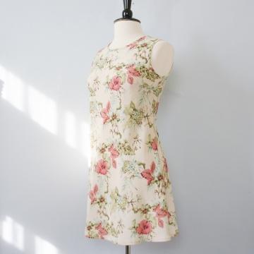 90's cream floral mini dress, women's size medium