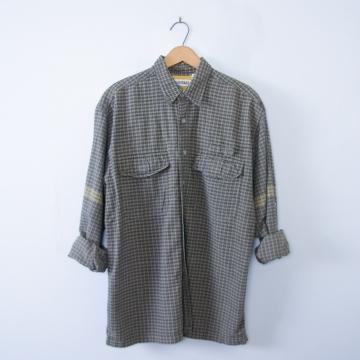 Vintage 90's grunge button up grey plaid shirt, men's size large