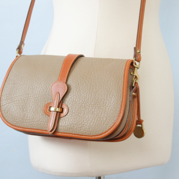 80's Dooney and Bourke over and under taupe crossbody purse
