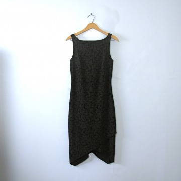 Vintage 90's sleeveless black dress with handkerchief hem, size medium