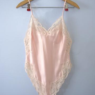 Vintage 80's Victoria's Secret pink teddy, silky lingerie bodysuit, size small