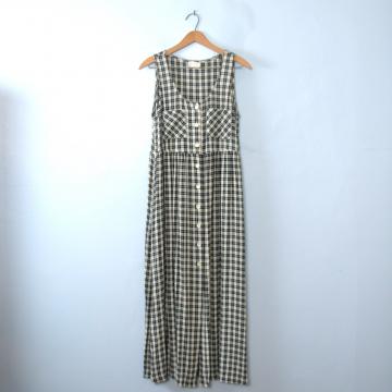 Vintage 80's plaid jumper maxi dress with pockets, size 10 / medium