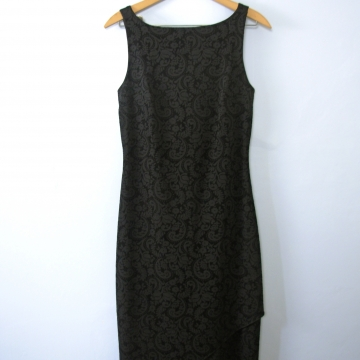 Vintage 90's sleeveless black dress with handkerchief hem, size medium