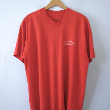 Vintage 90's graphic tee, BH Budke Construction red shirt, size large