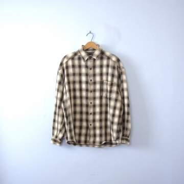 Vintage 90's grunge plaid button up shirt, women's size large
