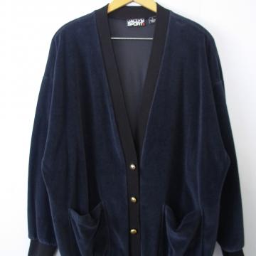 Vintage 80's midnight blue velvet cardigan, men's size large