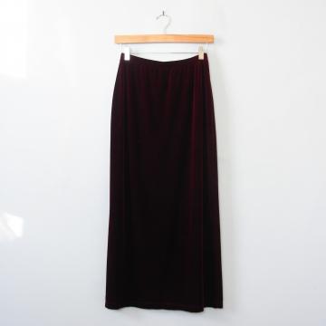 90's long dark red wine velvet skirt, women's medium