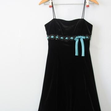 Y2K black velvet babydoll mini dress, women's small / xs