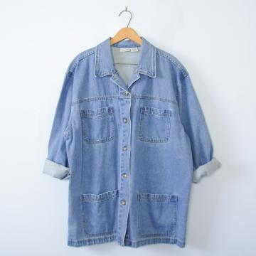 90's denim barn coat jacket, women's XL