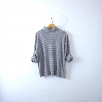 Vintage 90's light blue striped turtleneck long sleeved shirt, men's size XL