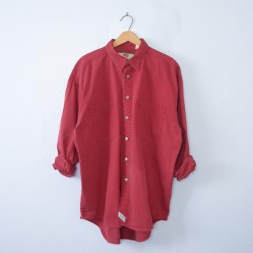 Vintage 90's Levi's red button up denim shirt, men's size large