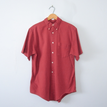 Vintage 50's distressed red short sleeved button up shirt with pocket, men's size medium