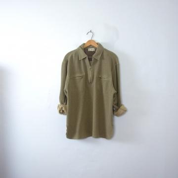 Vintage 90's taupe herringbone pullover sweatshirt, men's size medium