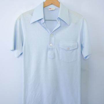 Vintage 70's light blue henley polo shirt, men's size XS