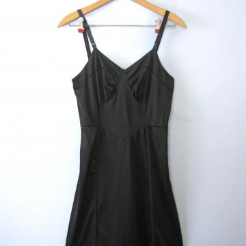 Vintage 50's silky black slip dress, women's size small
