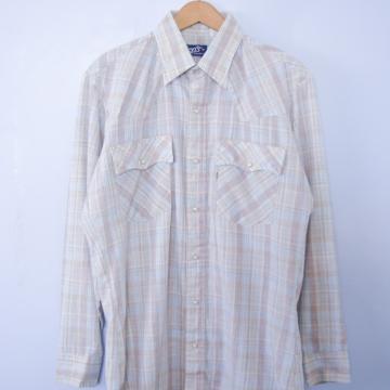 Vintage 70's Levi's beige plaid shirt with pearl snap buttons, men's size medium