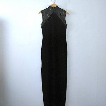 Vintage 90's black velvet floor length maxi dress with mandarin collar, size 6