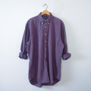 Vintage 90's Ralph Lauren purple button up denim shirt, men's size large