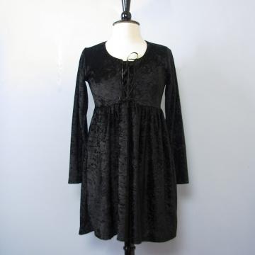 90's black crushed velvet babydoll mini dress, women's medium
