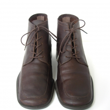 Vintage 90's brown leather ankle boots, lace up brown booties, women's size 8