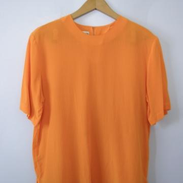 Vintage 90's bright orange silk blouse shirt, women's size medium