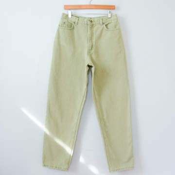 90's high waisted celery green jeans with tapered leg, women's size 10 / 12