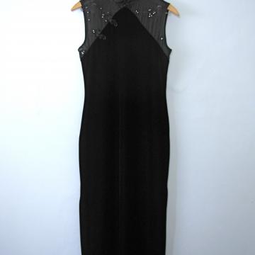 Vintage 90's black velvet floor length maxi dress with mandarin collar, size 6