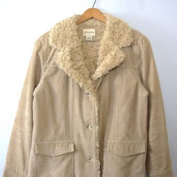 Vintage 90's beige corduroy coat with faux fur collar, women's size large