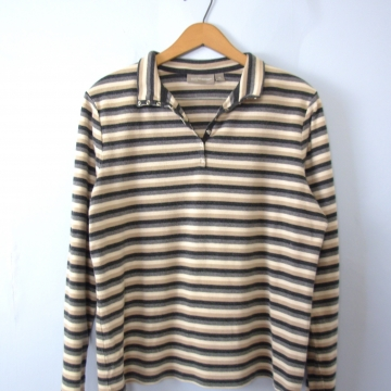 Vintage 90's striped beige and grey henley shirt, long sleeved top, women's size XL