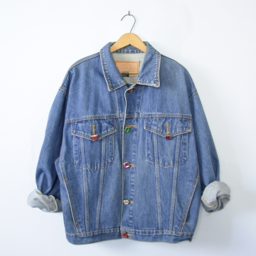 80's The Limited oversized denim jacket with jewel buttons, women's large