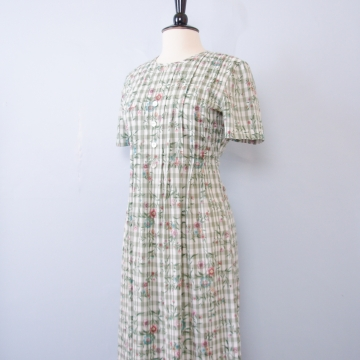 90's floral green plaid dress, women's size medium