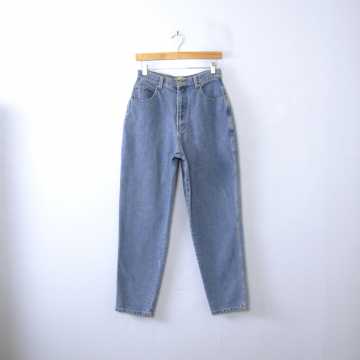 Vintage 80's Stefano blue denim high waisted mom jeans, tapered leg, women's size 12 / 10