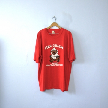 Vintage 90's graphic tee, Fire Chiefs are just Loveable Teddy Bears red shirt, size XXXL