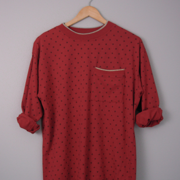 80's red star long sleeved tee shirt with pocket, size large