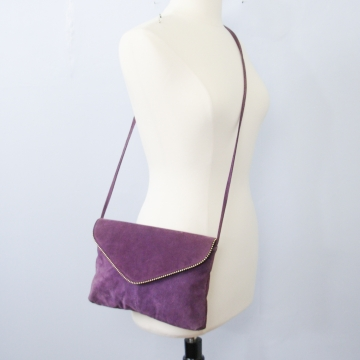 Vintage 80's purple suede shoulder bag