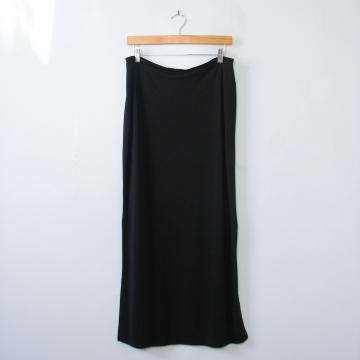 90's long black skirt with side slits, women's medium
