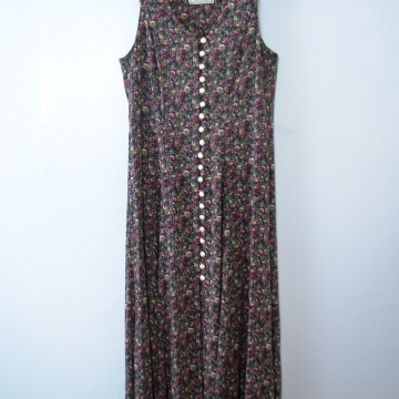 Vintage 80's floral midi dress with buttons, navy blue and purple dress long dress, size small
