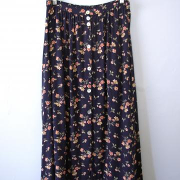 Vintage 80's navy floral midi skirt, women's size large