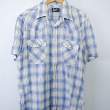 Vintage 70's blue plaid snap button up short sleeve western shirt with pockets, men's size large