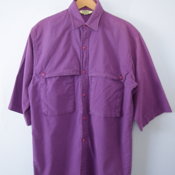Vintage 90's short sleeved purple button up shirt, men's size small