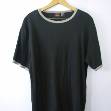 Vintage 90's plain black ringer tee shirt, men's size large