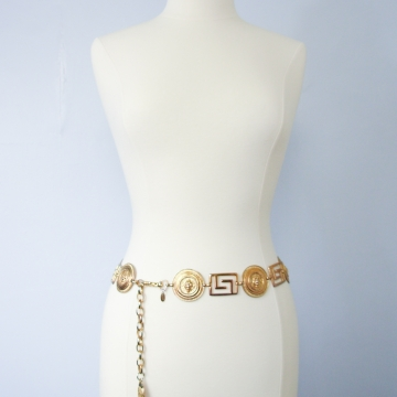 Vintage 90's Express gold lion greek key chain belt, size medium / small