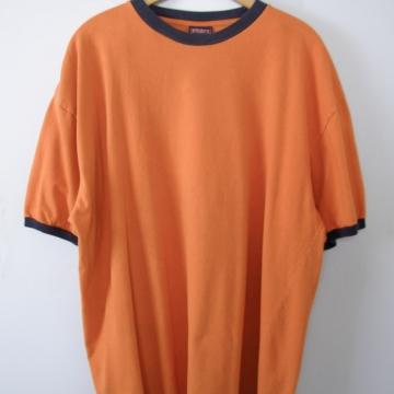 Vintage 90's plain pumpkin orange ringer tee shirt, men's size XL
