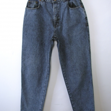 Vintage 80's Sasson high waisted jeans, blue denim mom jeans with tapered leg, women's size 12
