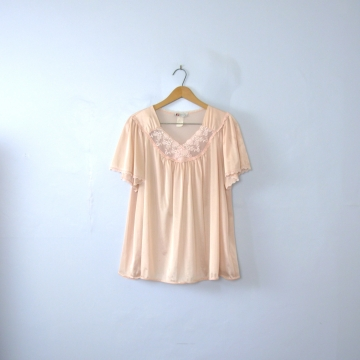 Vintage 80's silky peach lingerie babydoll top, size large